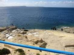 Utsikt, parkeringsplass mot dykkestedet