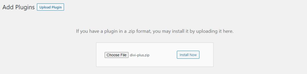 Upload divi plus plugin