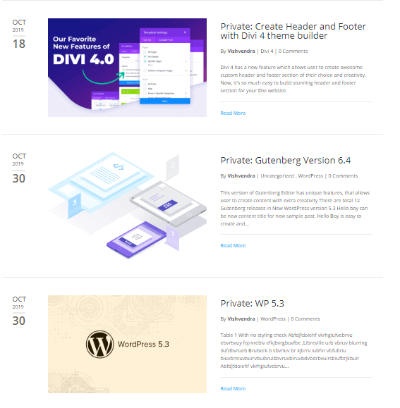 Divi Blog Extras Full Width layout