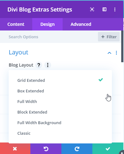 Divi Blog Layout of Divi Blog Extras