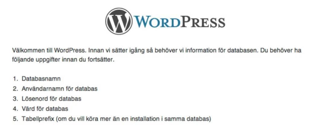 Installera WordPress 2