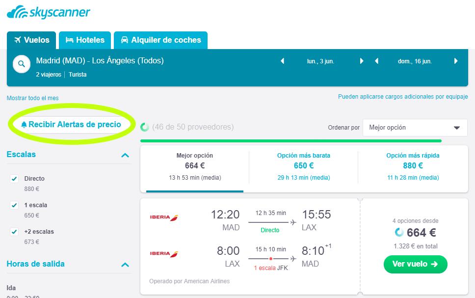 Alerta de precio de Skyscanner