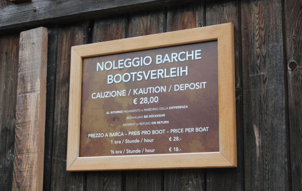 Precios alquiler de barcas Lago di Braies