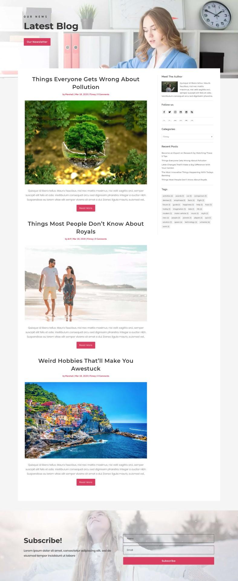 Flimsy Divi Blog Layout