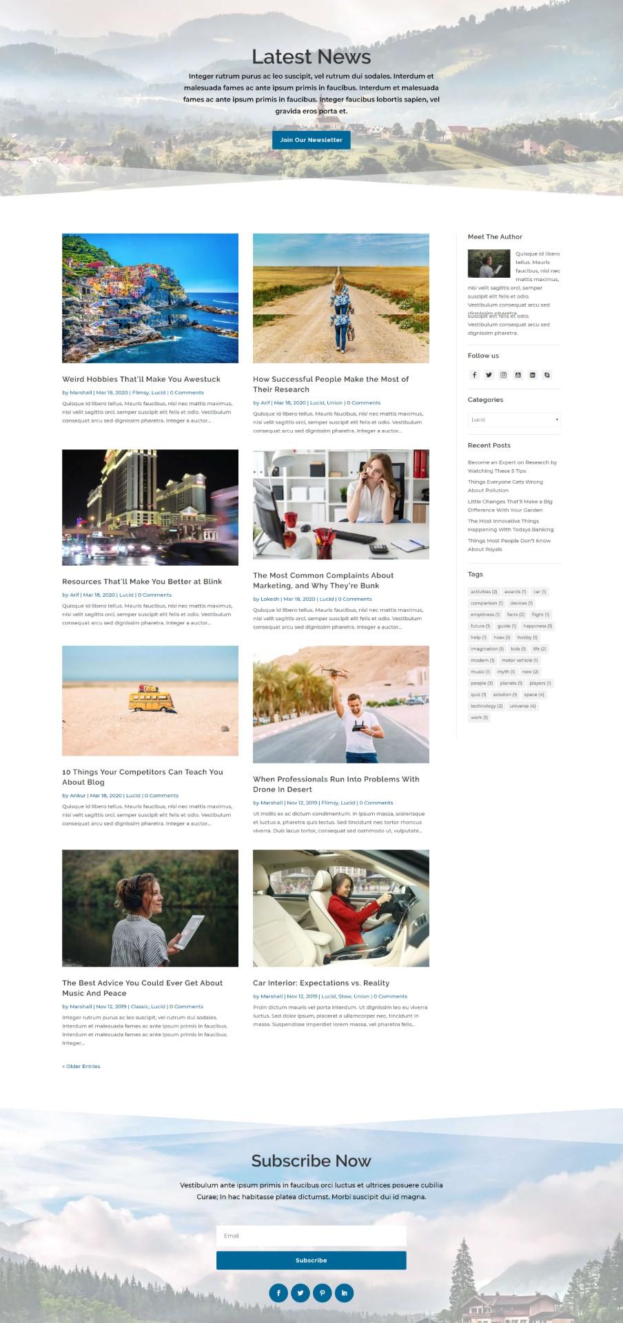 Lucid Divi Blog Layout