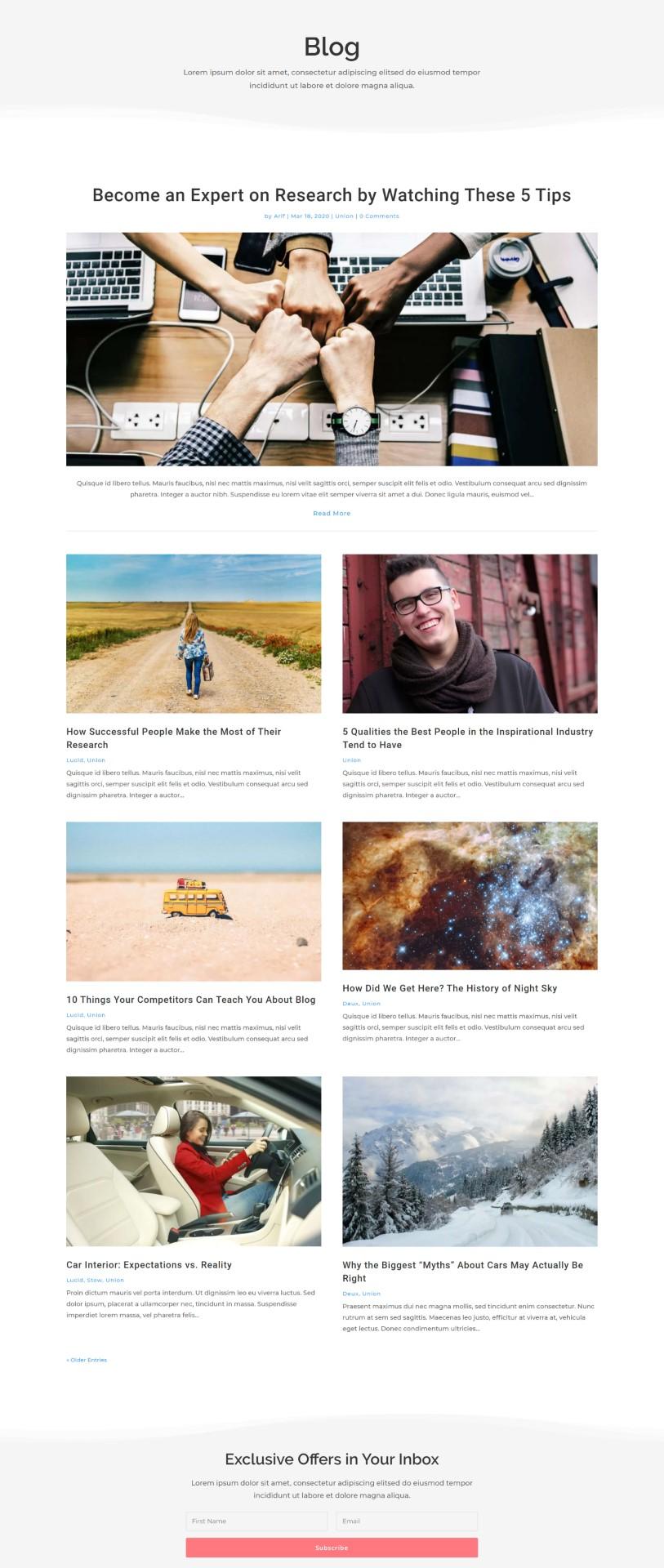 Union Divi Blog Layout