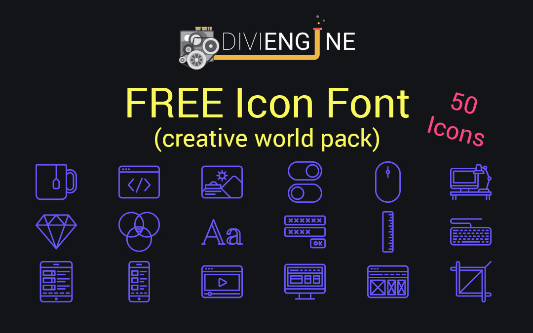 Download FREEBIE: Download Divi Engine Icon Font (Creative World ...