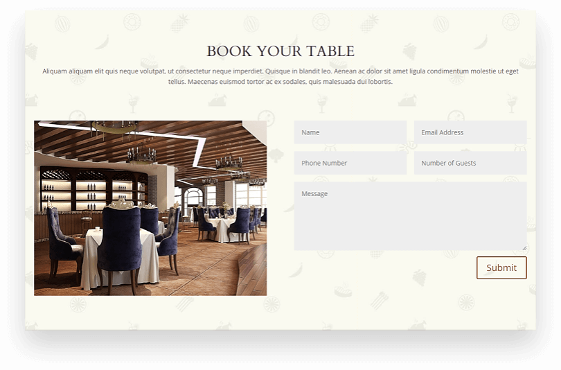 Divi restaurant page layouts