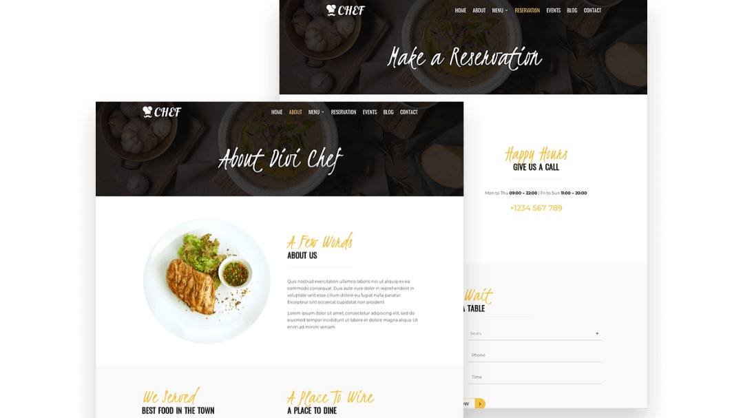Divi child theme for restaurant