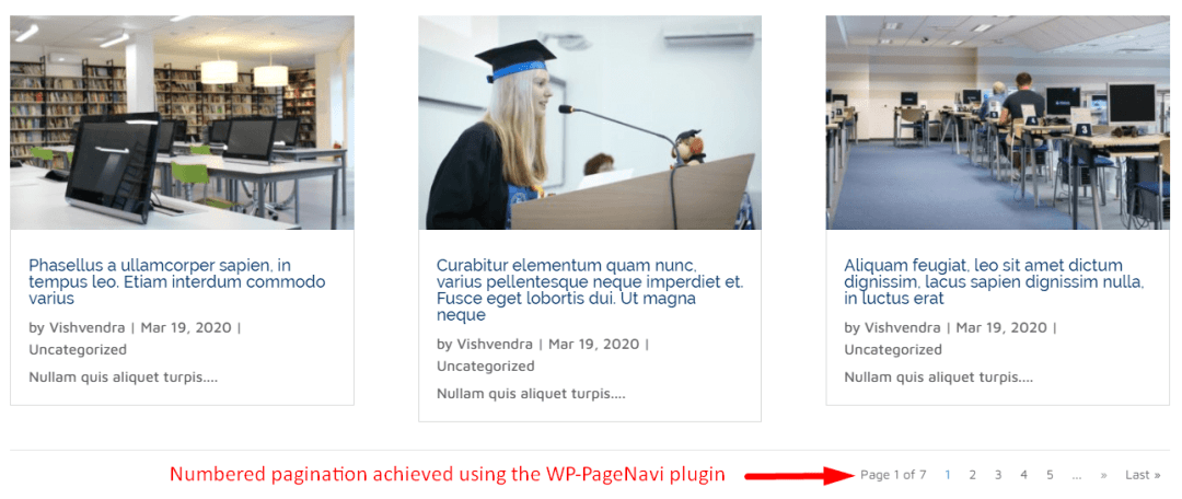 Numbered pagination achieved using the WP-PageNavi plugin