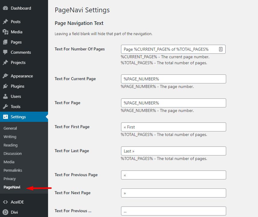 WP-PageNavi WordPress Dashboard settings