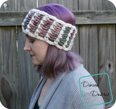 Katie Ear Warmer crochet pattern by DivineDebris.com