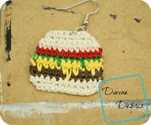 Anna Burger Earrings, a free crochet earring pattern by DivineDebris.com