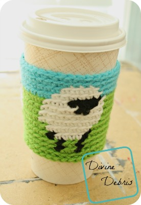 Learn to make the fun sheep themed crochet coffee cozy, the Dancing Sheep Mug Cozy, from a free tapestry crochet pattern on DivineDebris.com