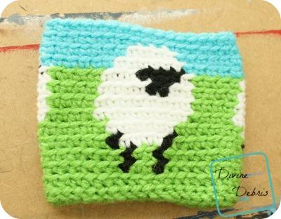 Dancing Sheep Mug Cozy free crochet pattern by DivineDebris.com