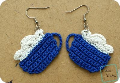 Make Mine Cocoa, Cup of Cocoa Earrings Crochet Pattern