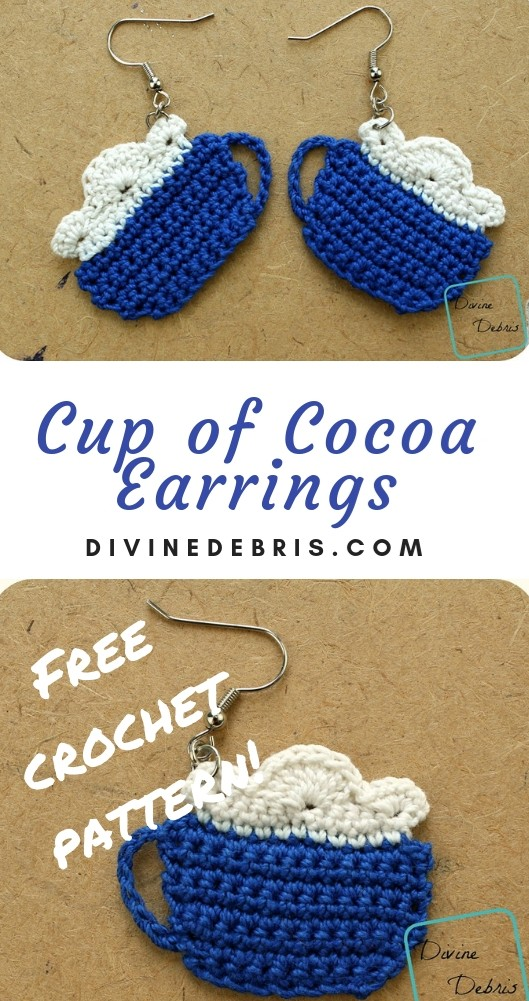 Cup of Cocoa Earrings free crochet pattern by DivineDebris.com