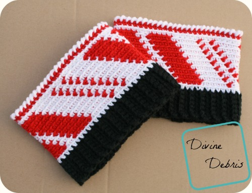 Candy Cane Boot Cuffs free crochet pattern by DivineDebris.com