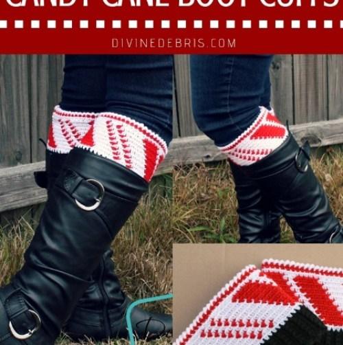 Candy Cane Boot Cuffs by DivineDebris.com