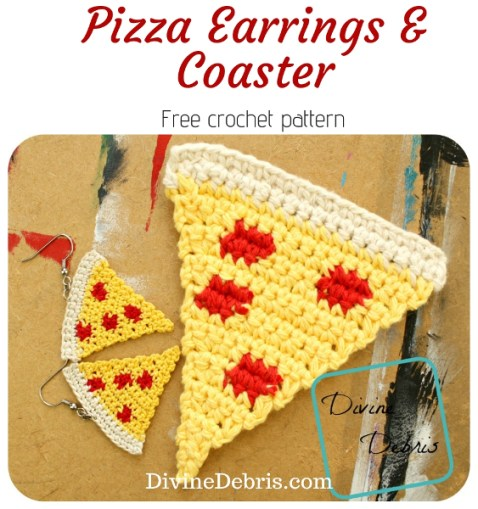 Pizzas Earrings and Coaster free crochet patterns by DivineDebris.com #crochet #freepattern #earrings #coaster #food #pizzas