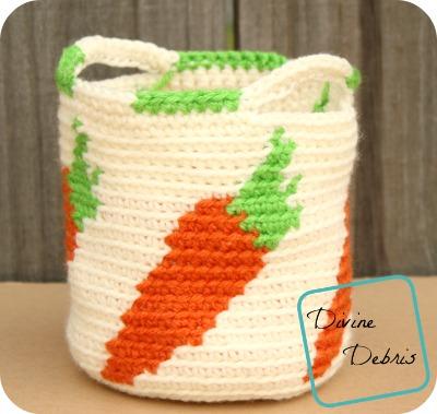 Cute Carrots Crochet Basket pattern by DivineDebris.com
