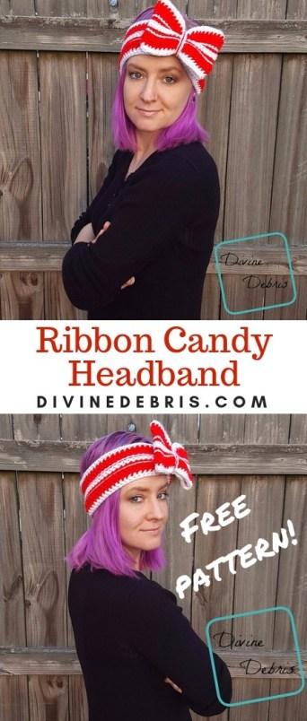 Ribbon Candy Headband free crochet pattern by DivineDebris.com