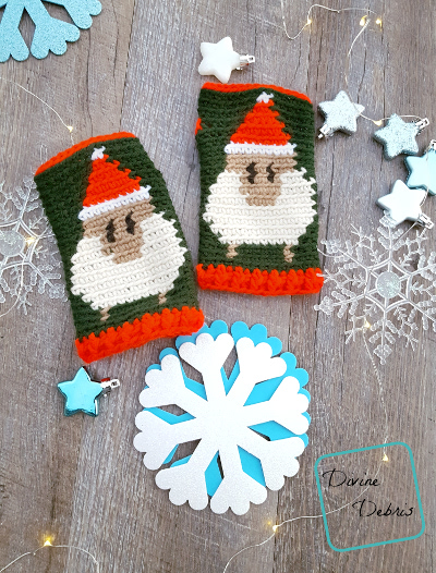 We're All Festive Here – Sheep in Santa Hats Fingerless Gloves Free Crochet Pattern