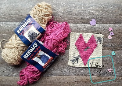 "8"" Tapestry Heart Afghan Square free crochet pattern by Divine Debris"