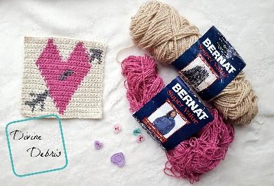 "8"" Tapestry Heart Afghan Square crochet pattern by Divine Debris"