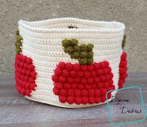 Bobble Apple Basket free crochet pattern by DivineDebris.com