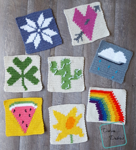 """8"""" Tapestry Afghan Squares free crochet pattern by divinedebris.com"""
