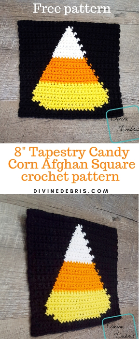 """8"""" Tapestry Candy Corn Afghan Square free crochet pattern by divinedebris.com"""