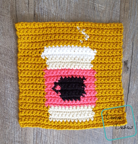 "8"" Tapestry Coffee Mug Afghan Square free crochet pattern by DivineDebris.com"