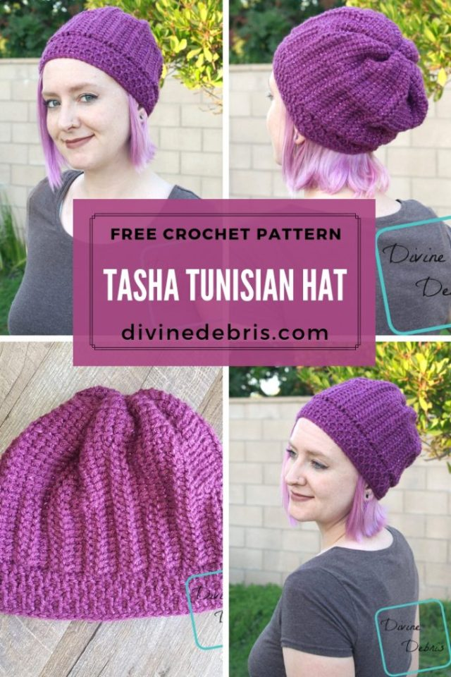 Tasha Tunisian Hat free crochet pattern from DivineDebris.com
