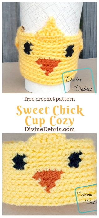 Sweet Chick Cup Cozy free crochet pattern by DivineDebris.com #crochet #freepattern #cupcozy #mugcozy #chicks #Easter