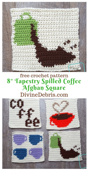 8″ Tapestry Spilled Coffee Afghan Square free crochet pattern by DivineDebris.com