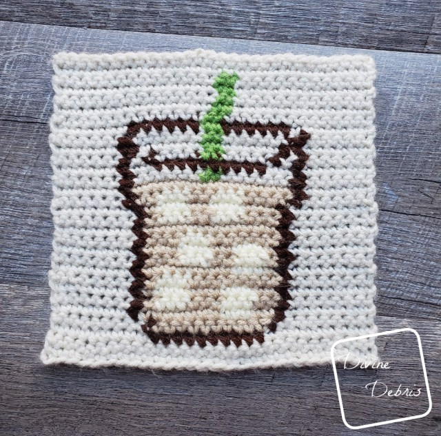 Learn to make a 8″ Tapestry Iced Coffee Afghan Square free crochet pattern by DivineDebris.com