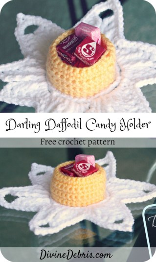 Learn to make the Darling Daffodil Candy Holder, a Spring home decor item, from a free crochet pattern by DivineDebris.com