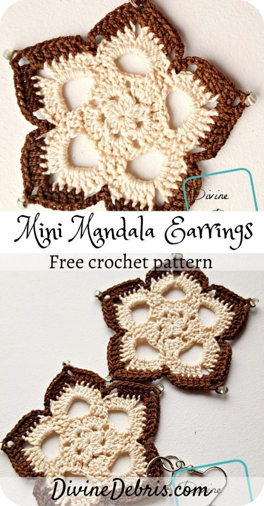 Learn how to make the cute, bohemian, and easy to customize Mini Mandala Earrings from a free crochet pattern by DivineDebris.com#crochet #freepattern #earrings #diy