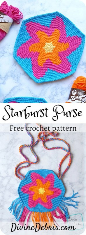 Learn to make this fun, eye-catching, and deceptively simple bag, the Starburst Purse, a free crochet pattern by DivineDebris.com#crochet #freepattern #bags #tapestrycrochet