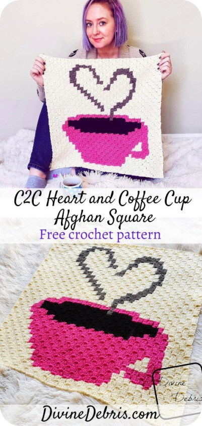 Learn to make the Heart and Cup C2C Afghan Square, the second in a year-long crochet-a-long, from a free pattern on DivineDebris.com