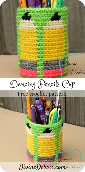 Learn to make the Dancing Pencils Cup from a free crochet pattern, on DivineDebris.com. Perfect gift for all the teachers in your life#crochet #freepattern #teachergifts #tapestrycrochet