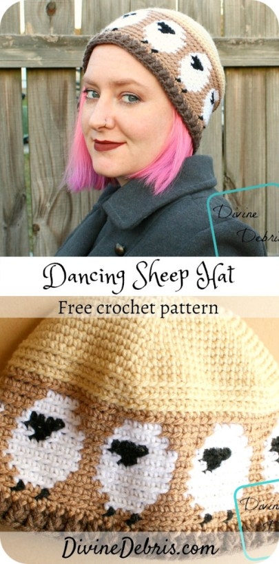 Learn to make a fun sheep and tapestry based crochet hat, Dancing Sheep Hat, from a free crochet pattern by DivineDebris.com#crochet #freepattern #hats #tapestry