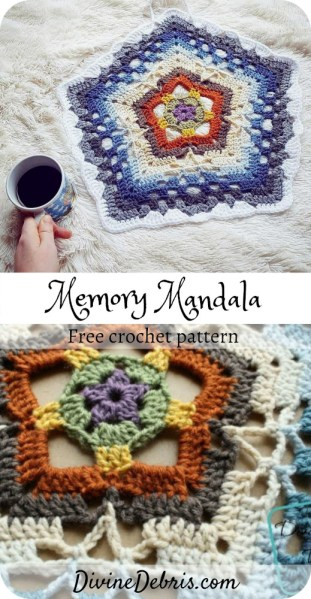 Learn to make the visually interesting and unique crochet mandala, the Memory Mandala, from a free crochet pattern on DivineDebris.com#crochet #freepattern #mandalas #stashbuster #worstedweight