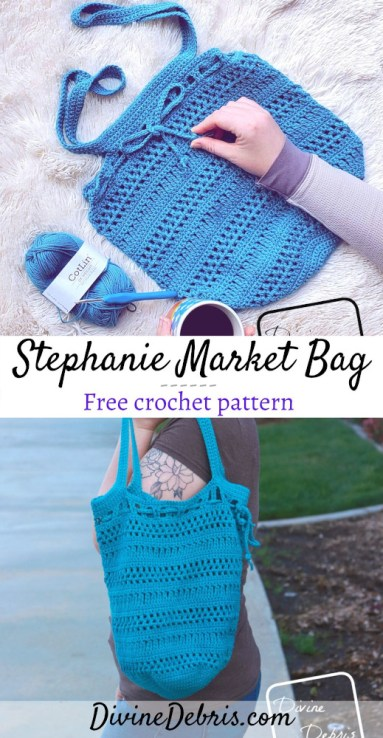 Learn to make the fun, easy, customizable, and useful Stephanie Market Bag from a free crochet pattern by DivineDebris.com#crochet #freepattern #marketbag #bags #cottonyarn #dkweight