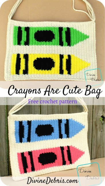 Learn to make the Crayons Are Cute Bag, from a free and customizable tapestry crochet pattern, available on DivineDebris.com