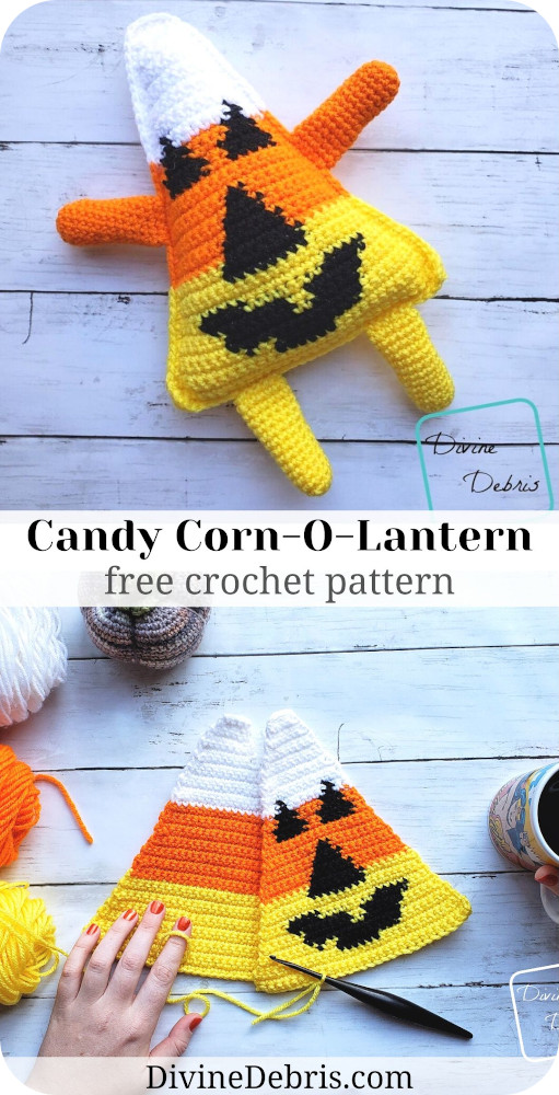 Learn to make this fun and silly Candy Corn-O-Lantern amigurumi from a free pattern on DivineDebris.com and be ready for Halloween in no time!