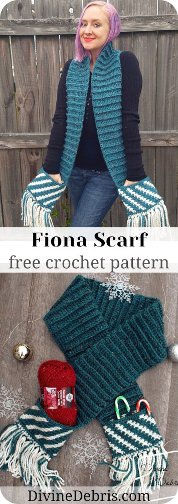 Make the perfect gift for your or for someone else with this cozy scarf with pockets, the Fiona Scarf, free on DivineDebris.com