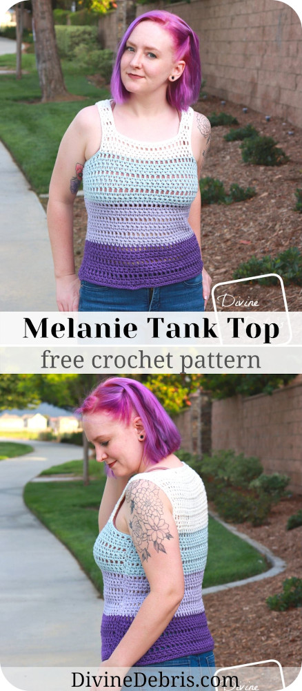 Learn to make the easy, fun, and customizable summer top, the Melanie Tank Top, from a free crochet pattern on DivineDebris.com