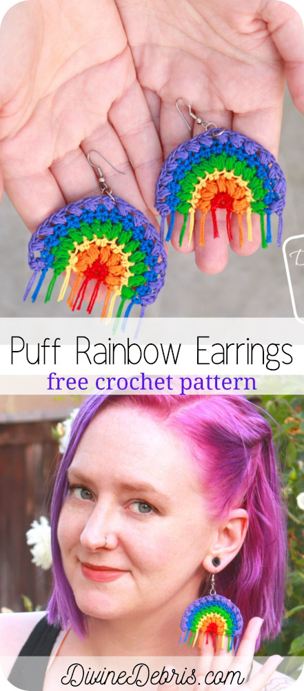 Learn to make the Puff Rainbow Earrings, an easy and fun crochet thread accessory, from a free crochet pattern photo tutorial on DivineDebris.com